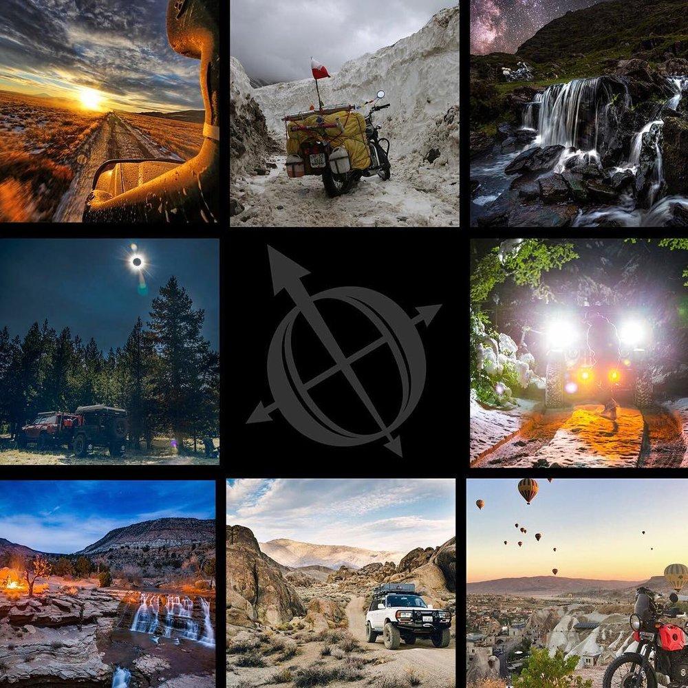 2018 Best Shot Finalists clockwise from top left;  @maxgear_armor ,  www.notosruuu.com ,  @timburkephoto ,  @2180miles ,  @trailbugadv ,  @dirt_road_travels ,  @kingoverland , and  @lawndartdesign