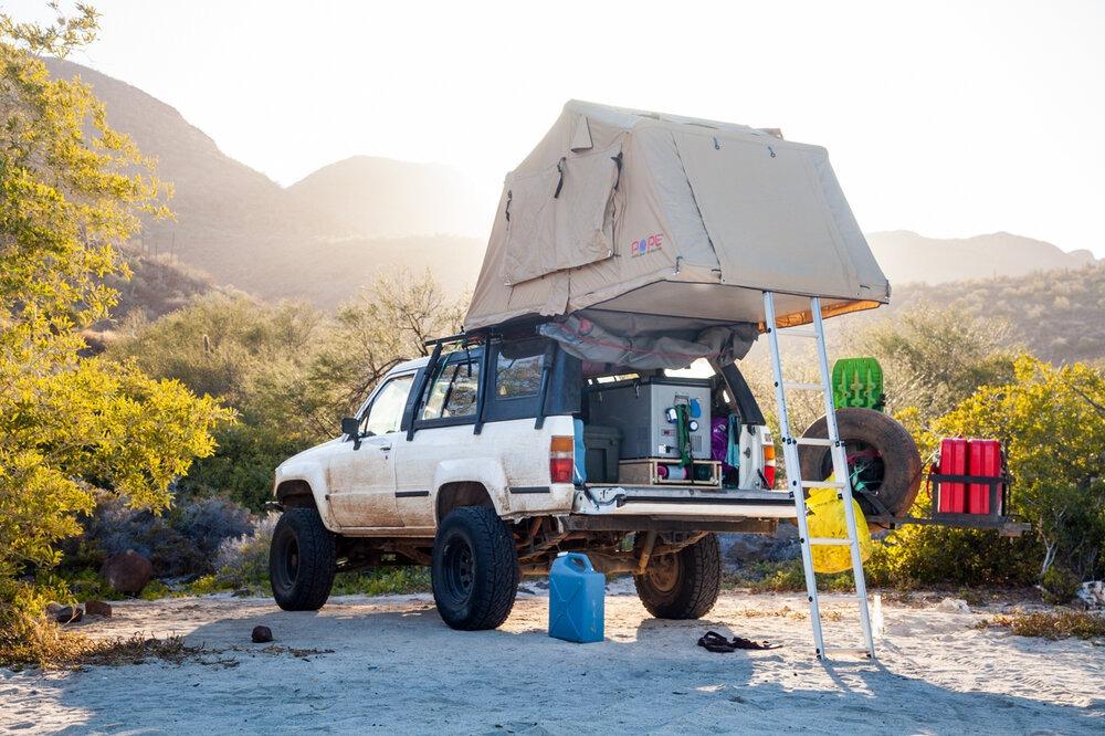 The Okienomad's setup in Baja