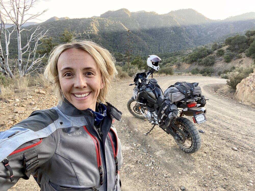 Obligatory moto selfie in the Chiricahuas.