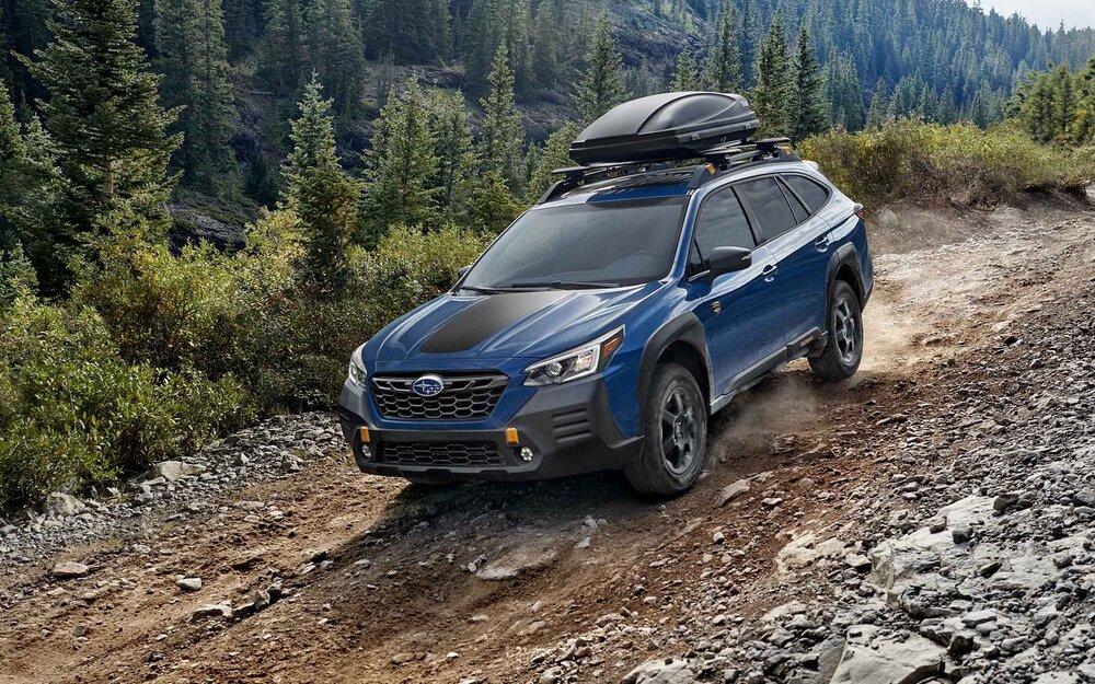 Subaru Outback on a rocky trail