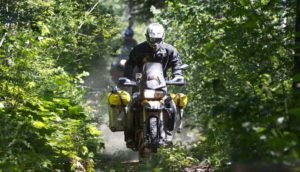 Adventure motorcycle going through a tree-covered trail