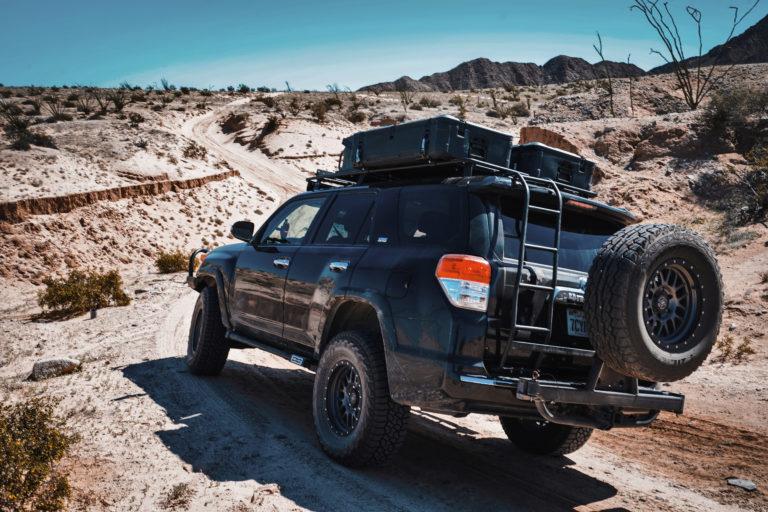 Pelican Cargo Case on a Toyota 4Runner on a desert trail.