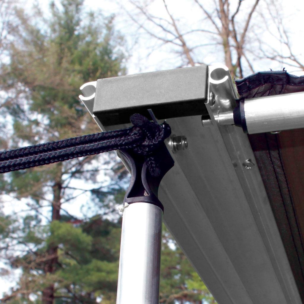 Close up of awning pole