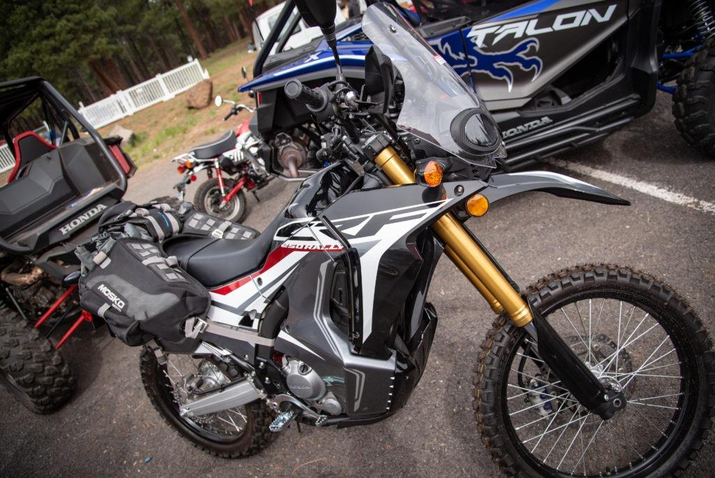 Dirt bike with Mosko Moto soft luggage
