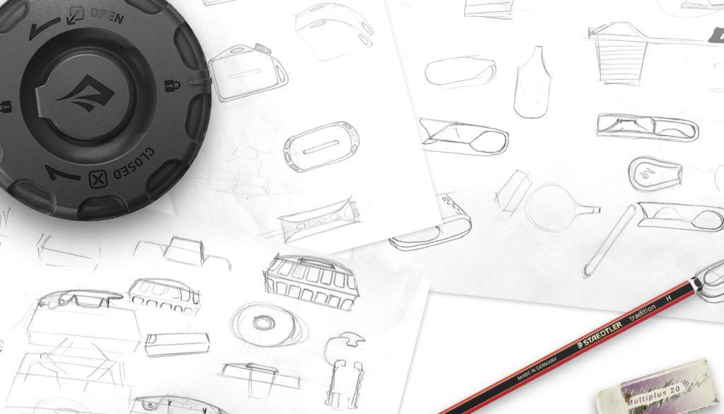 Sketches exploring camp kitchen gear designs.