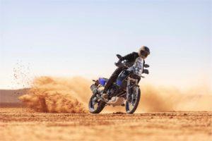 Adventure rider on Yamaha Tenere 700 in the sand