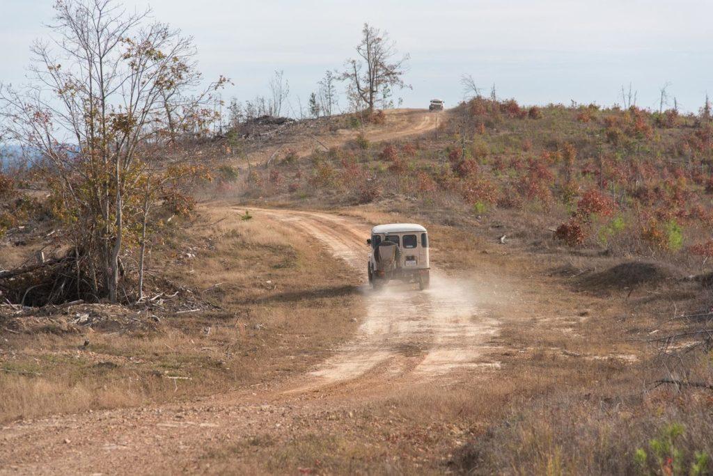 Overlanders traveling Honobia Creek Trail in Oklahoma.