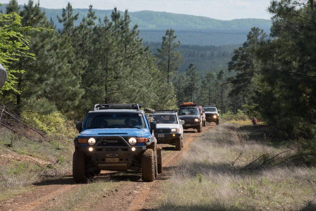 Rigs on the Honobia Creek trail.